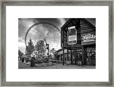 Moonshine And The Spinning Wheel In Black And White Framed Print