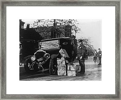 Moonshine Car Chase Framed Print