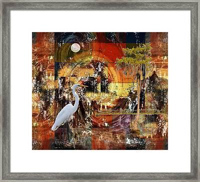 Moonshine Egret On Abstract Framed Print