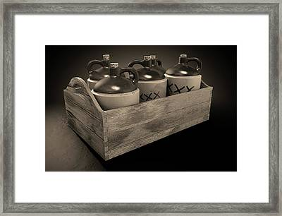Moonshine In Wooden Crate Framed Print by Allan Swart