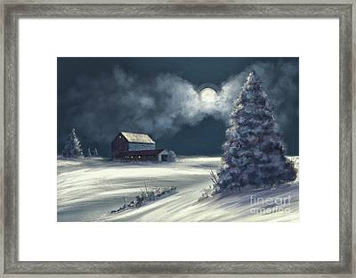 Moonshine On The Snow Framed Print by Lois Bryan