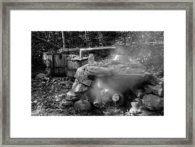 Moonshine Still In Black And White Framed Print