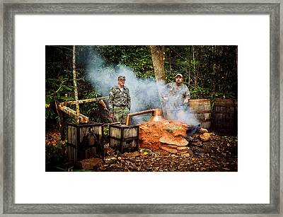 Moonshine Still With Mark And Huck Framed Print