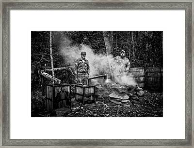 Moonshine Still With Mark And Huck In Black And White Framed Print