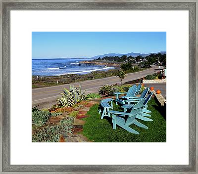 Framed Print featuring the photograph Moonstone Beach Seat With A View by Barbara Snyder