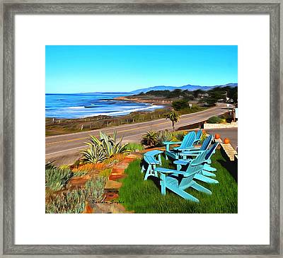 Framed Print featuring the photograph Moonstone Beach Seat With A View Digital Painting by Barbara Snyder