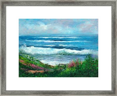 Moonstone Bench Framed Print by Sally Seago