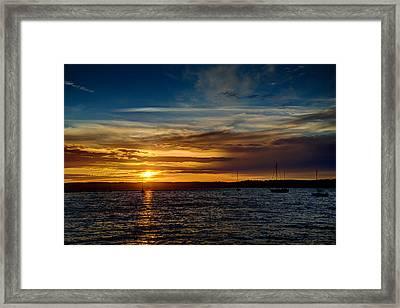 Moored At Penn Cove  Framed Print