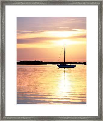 Moored Boat At Sunset Florida Keys Fl Framed Print