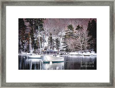 Moored Boats In Maine Winter  Framed Print