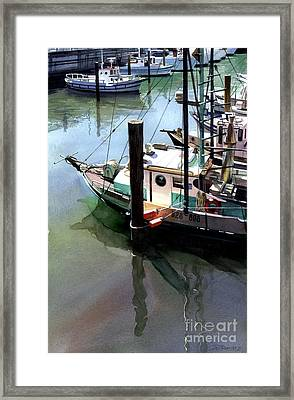 Framed Print featuring the painting Moored Boats by Sergey Zhiboedov