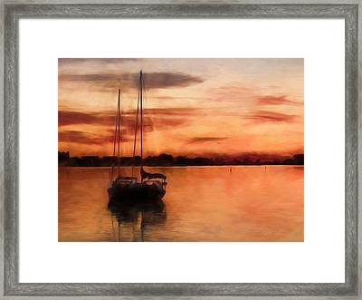 Moored For The Night Framed Print by Andrea Kollo