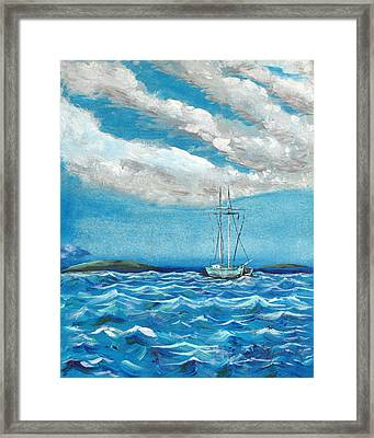 Moored In The Bay Framed Print by J R Seymour