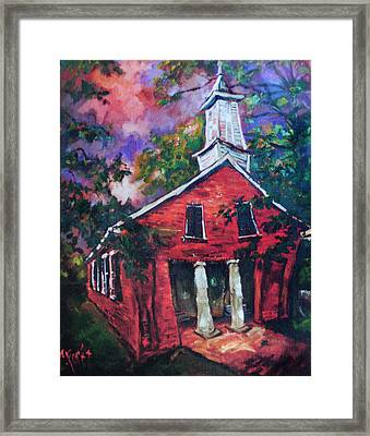 Mooresville Brick Church Framed Print by Carole Foret
