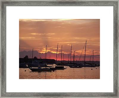 Mooring Field Sunset Framed Print by Walter Taylor