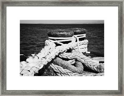 Mooring Ropes On Old Metal Harbour Bollard Scotland Framed Print by Joe Fox