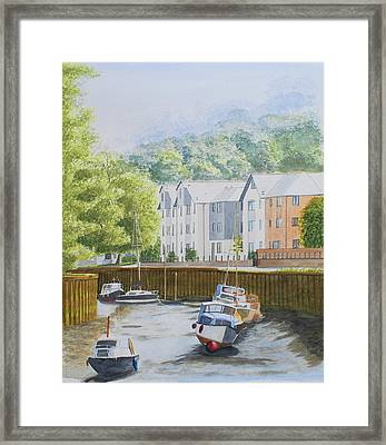 Moorings At Totnes Framed Print