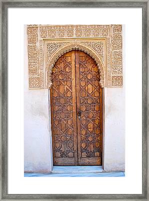Moorish Door In Alhambra Framed Print