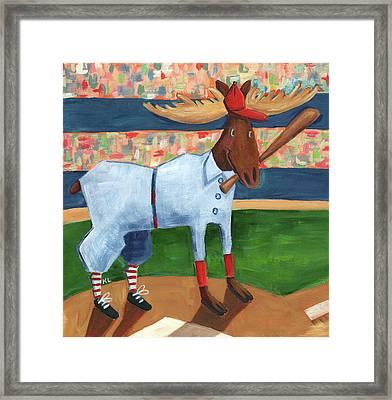 Moose Baseball Framed Print