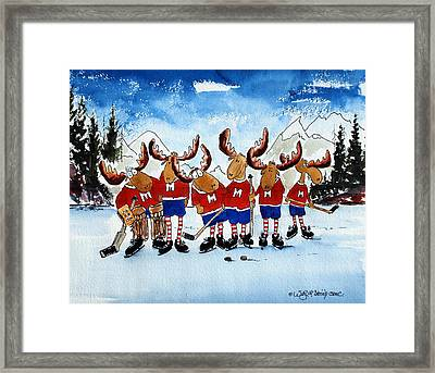 Moose Champs And Shinny Kings Framed Print by Wilfred McOstrich