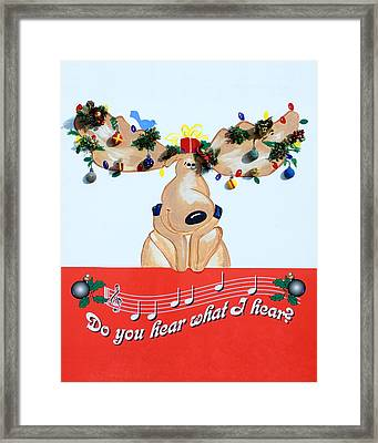 Moose Christmas Greeting Framed Print