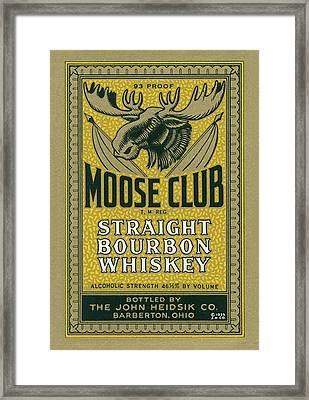 Moose Club Bourbon Label Framed Print