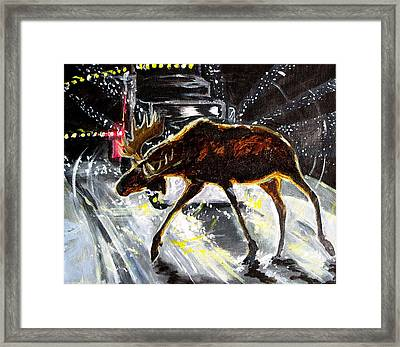 Framed Print featuring the painting Moose Crossing by Jenn Cunningham