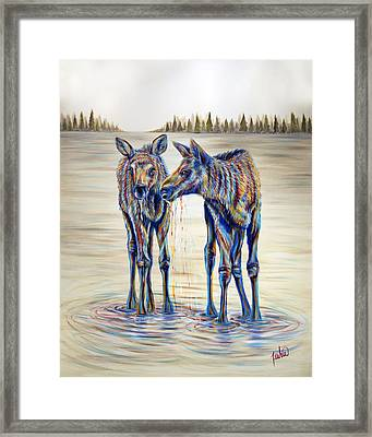 Moose Gathering, 2 Piece Diptych- Piece 2- Right Panel Framed Print