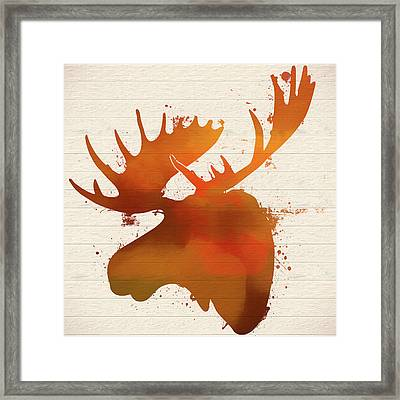 Moose Head Autumn Paint Framed Print