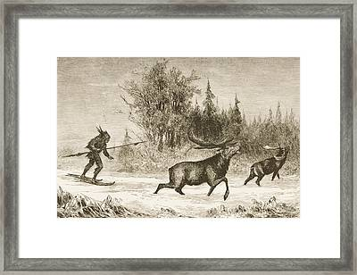Moose Hunting In The North Western Framed Print