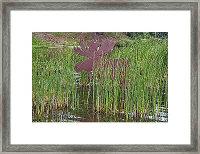 Framed Print featuring the photograph Moose In Bulrushes by Sue Smith