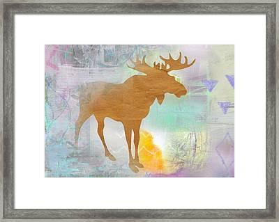 Moose In The Fog  Framed Print by Claudia Schoen