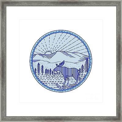 Moose River Flat Mountains Sunburst Circle Mono Line Framed Print