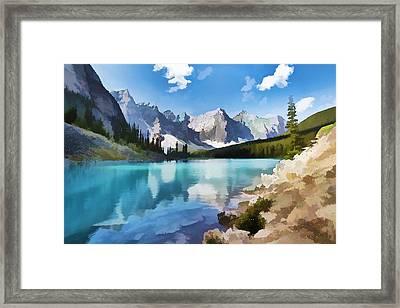 Moraine Lake At Banff National Park Framed Print