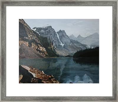 Framed Print featuring the painting Moraine Lake by Betty-Anne McDonald