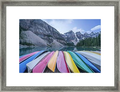 Moraine Lake Colors Framed Print