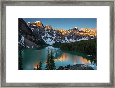 Moraine Lake Golden Sunrise Reflection Framed Print