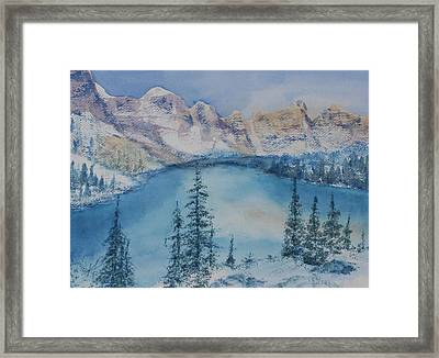 Framed Print featuring the painting Moraine Lake In Banff National Park by Kim Fournier