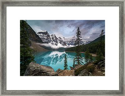 Moraine Lake In The Canadaian Rockies Framed Print by James Udall