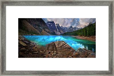 Framed Print featuring the photograph Moraine Lake by John Poon