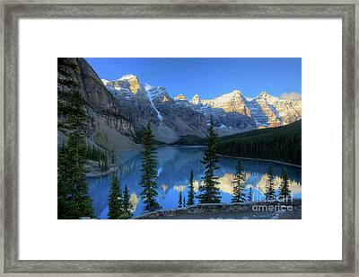Moraine Lake Sunrise Blue Skies Framed Print