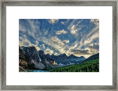 Moraine Lake Sunset - Golden Rays Framed Print