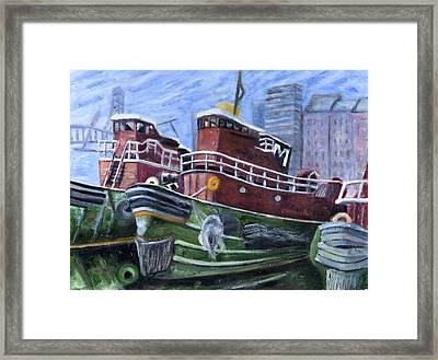 Moran Tugboats. Portsmouth New Hampshire Framed Print by Maurice Pelissier