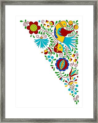 Moravian Folk Bird Ornament Framed Print by Miroslav Nemecek