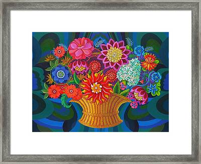 More Blooms In A Basket Framed Print by Jane Tattersfield