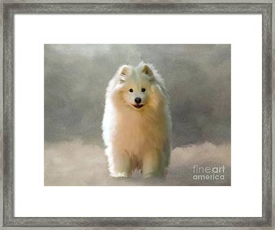 Framed Print featuring the digital art More Snow Please by Lois Bryan