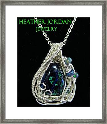 Morenci Azurite Malachite And Sterling Silver Wire Wrapped Pendant With Ethiopian Opals Mmassp2 Framed Print