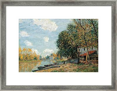 Moret The Banks Of The River Loing Framed Print by Alfred Sisley