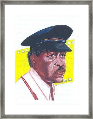 Framed Print featuring the painting Morgan Freeman by Emmanuel Baliyanga
