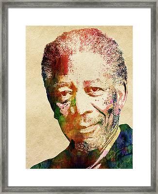 Morgan Freeman Framed Print by Mihaela Pater